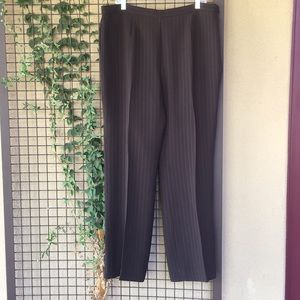 {Kasper}Sz 18 Brown Pinstripe Dress Slacks